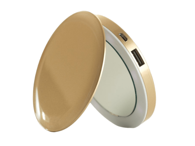 Pearl Compact Mirror Battery Pack Gold