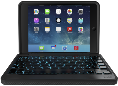 Zagg Rugged Book m. Backlit Keyboard för iPad mini 4 - Svart - Nordic
