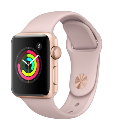 Apple Watch Series 3 GPS 38mm Aluminiumboett i Guld med Sandrosa Sportband