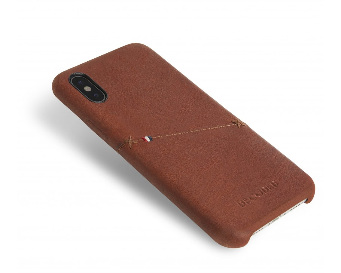 Decoded- Leather Back Cover för iPhone X Brown