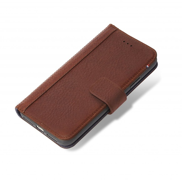 Decoded- Leather Wallet Case Magnet för iPhone X Brown