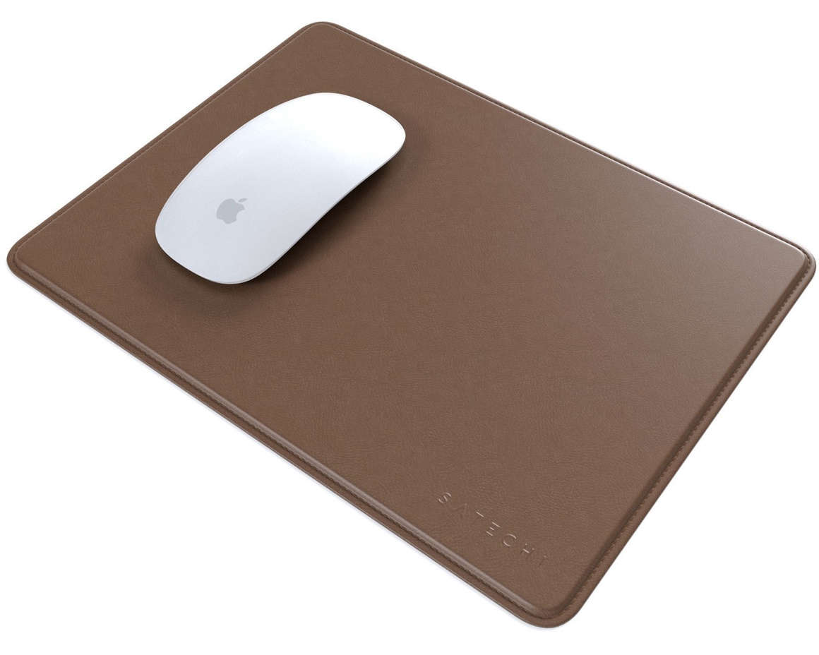 Satechi Eco-Leather Mousepad with Base Stitched Edges & Non-slip Rubber Base – Mörkbrun