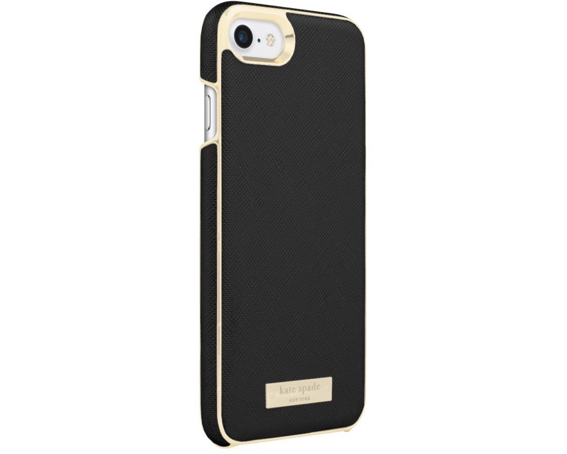 Kate Spade Inlay Wrap Case for iPhone 7/8 Saffiano Black/Gold Logo Plate