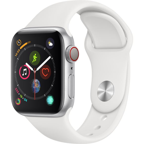 Apple Watch Series 4 GPS + Cellular, 40mm Aluminiumboett i silver med sportband i vitt