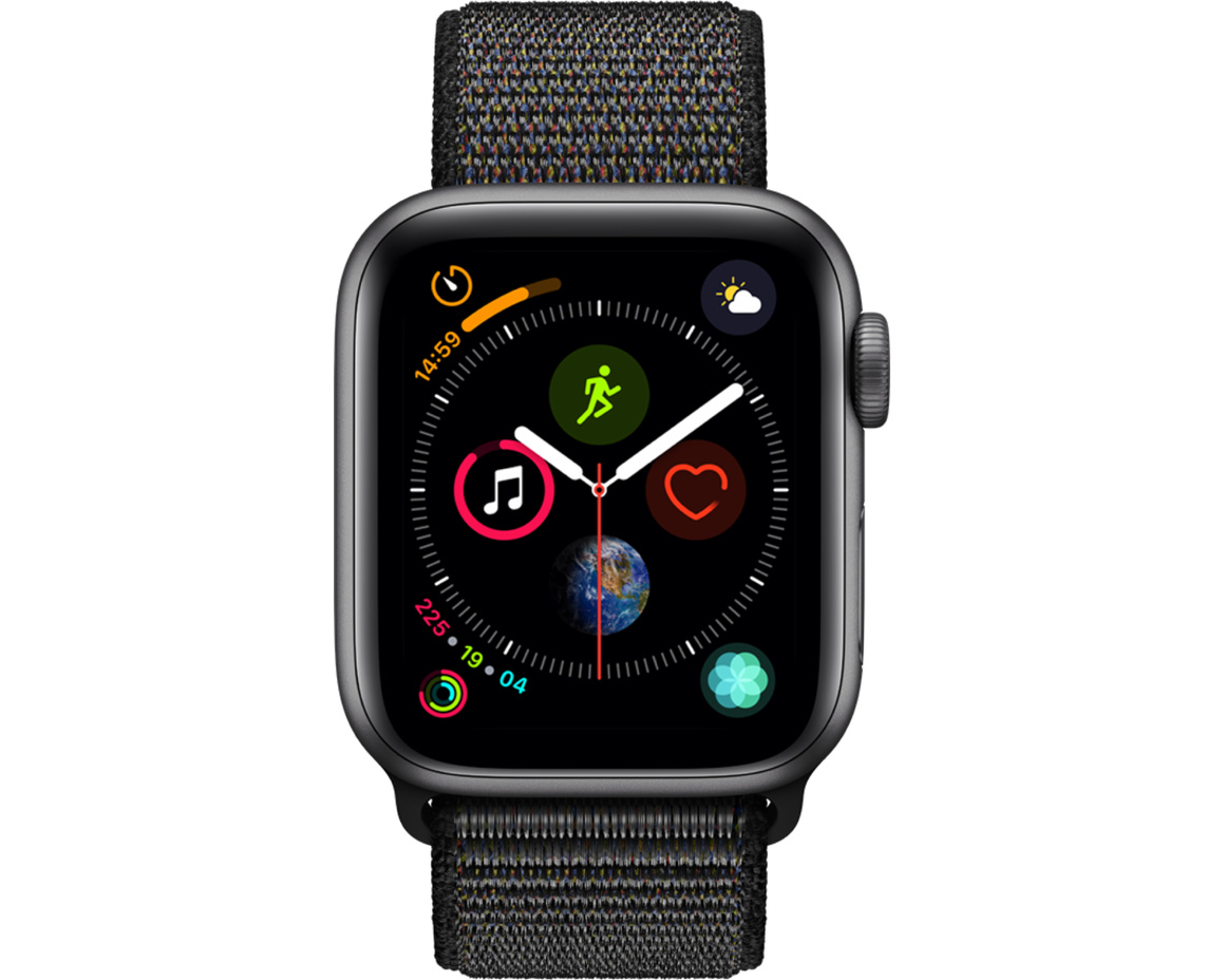 Apple Watch Series 4 GPS + Cellular, 40mm Aluminiumboett i rymdgrått med sportloop i svart