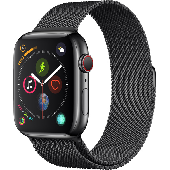 Apple Watch Series 4 GPS + Cellular, 44mm Rostfri stålboett i rymdsvart med milanesisk loop i rymdsvart