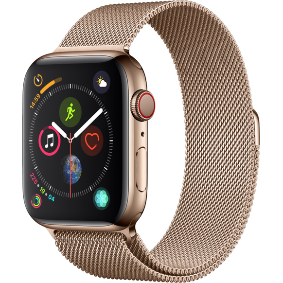 Apple Watch Series 4 GPS + Cellular, 44mm Rostfri stålboett i guldfinish med milanesisk loop i guldfinish