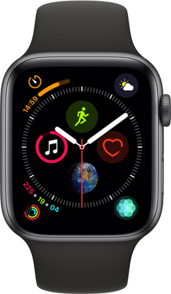 Apple Watch Series 4 GPS, 44mm Aluminiumboett i rymdgrått med sportband i svart