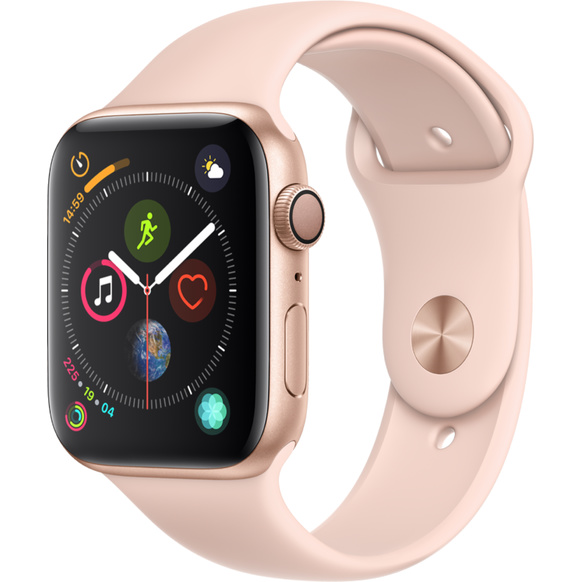 Apple Watch Series 4 GPS, 44mm Aluminiumboett i guld med sportband i sandrosa