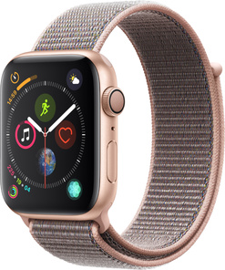 Apple Watch Series 4 GPS, 44mm Aluminiumboett i guld med sportloop i sandrosa