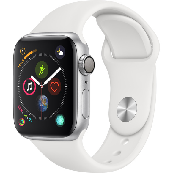 Apple Watch Series 4 GPS, 40mm Aluminiumboett i silver med sportband i vitt