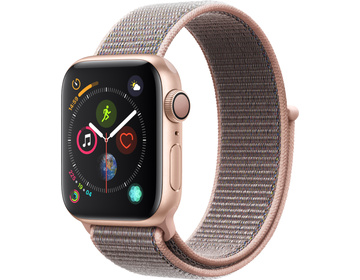 Apple Watch Series 4 GPS, 40mm Aluminiumboett i guld med sportloop i sandrosa