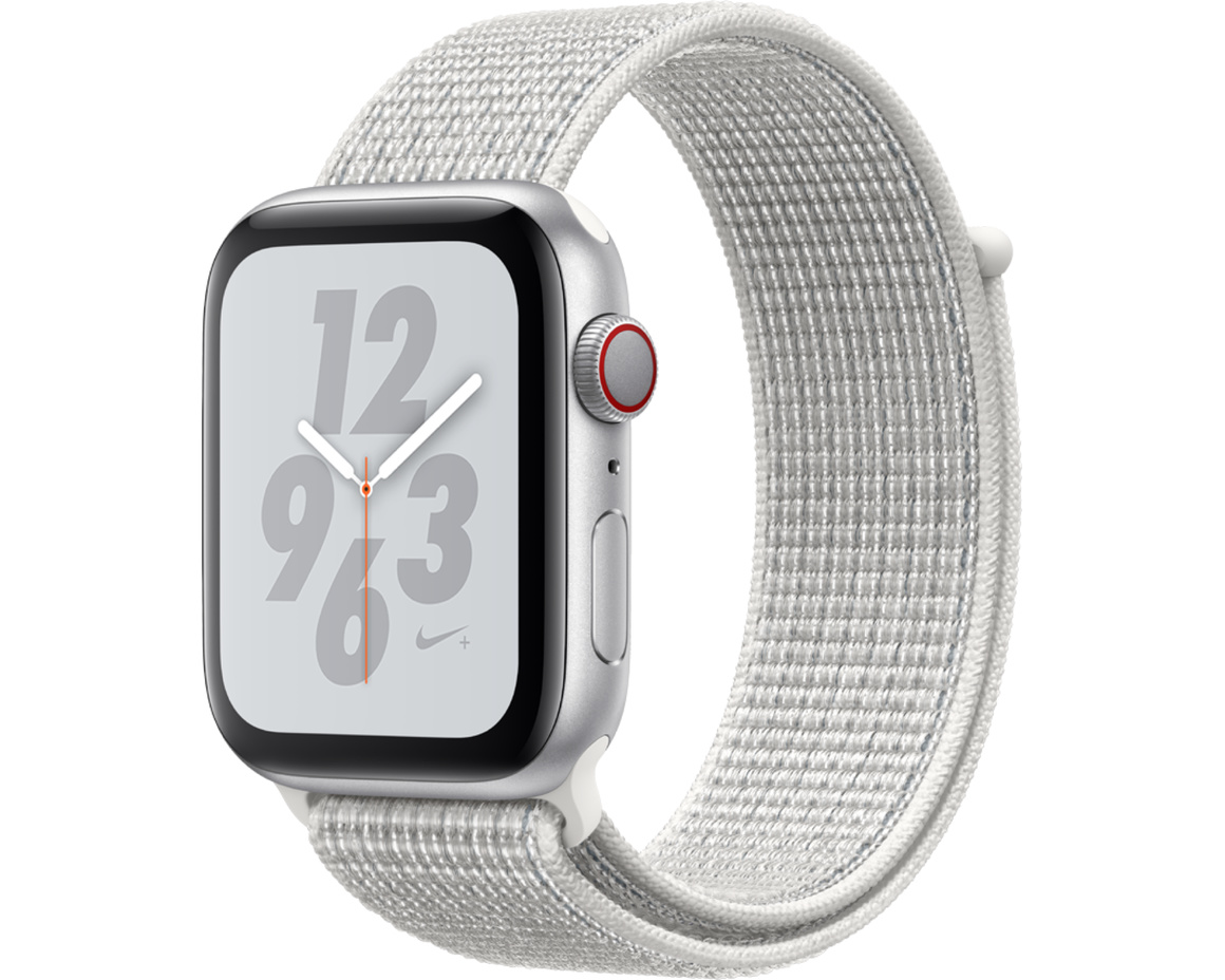 Apple Watch Nike+ Series 4 GPS + Cellular, 44mm Aluminiumboett i silver med Nike-sportloop i snövitt