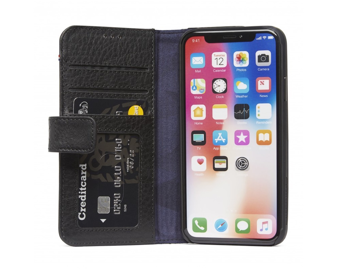 Decoded - Leather Impact Protection Wallet for iPhone X/XS Svart