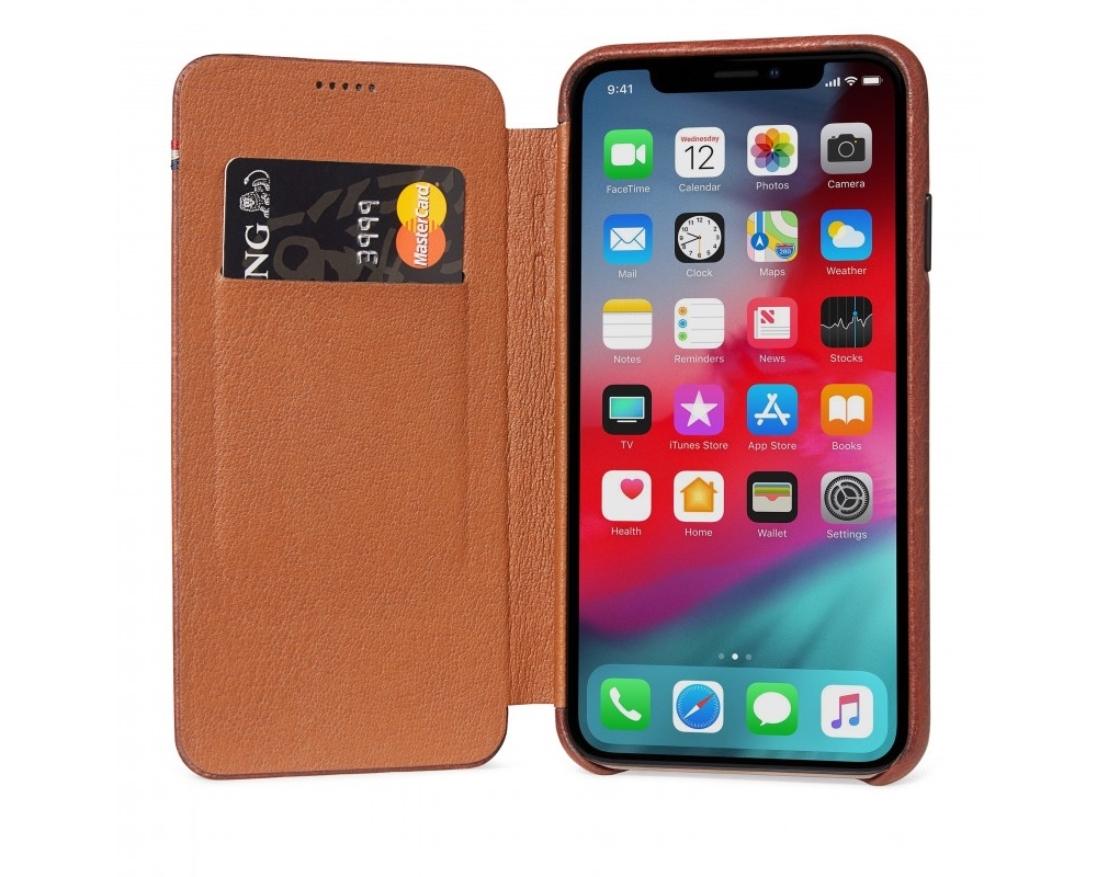 Decoded - Leather Slim Wallet för iPhone X/XS Brun