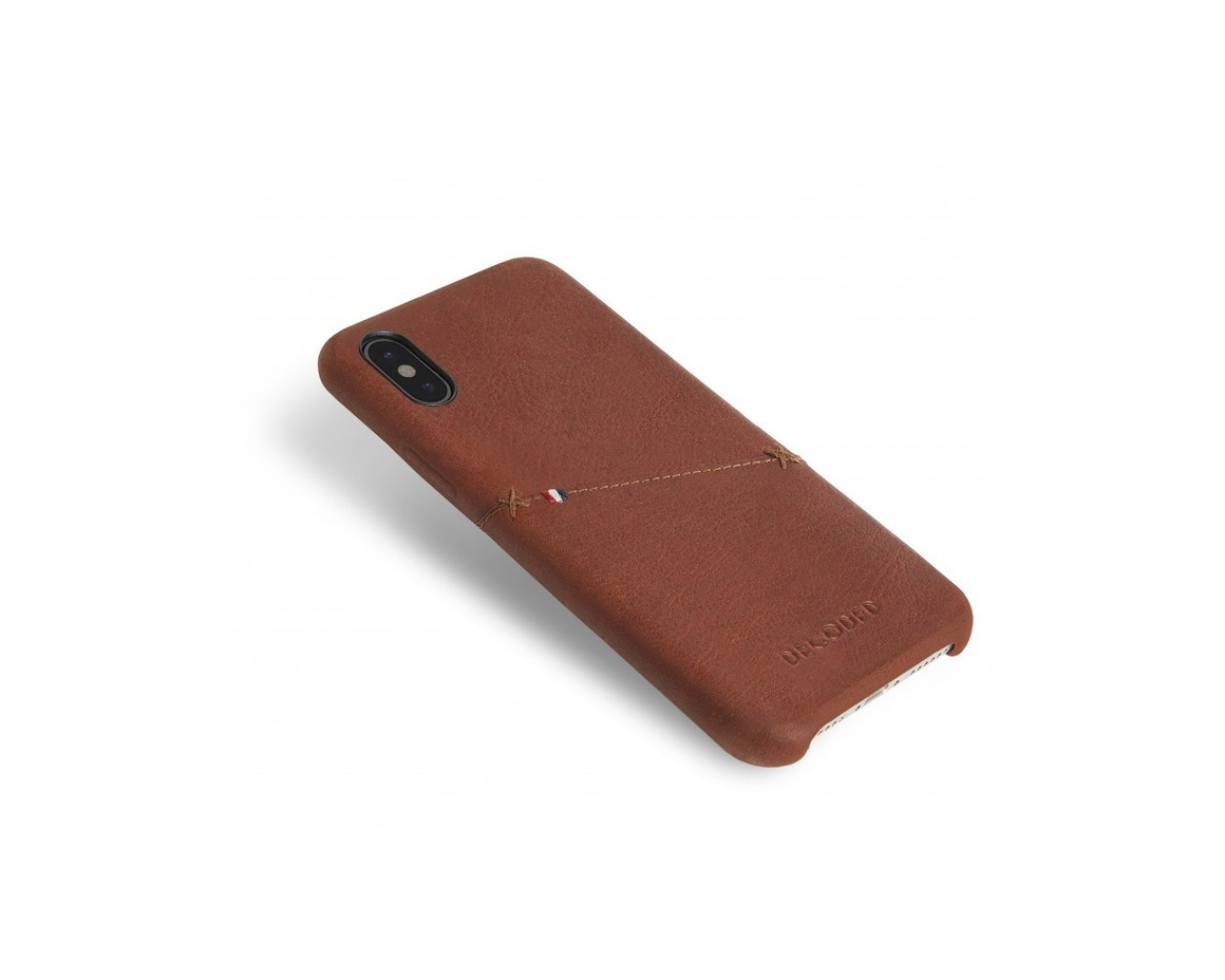 Decoded - Leather Snap On för iPhone Xs Brun
