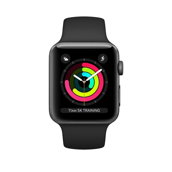 Apple Watch Series 3 GPS + Cellular Aluminiumboett i Rymdgrått med Sportband i Svar 38mm