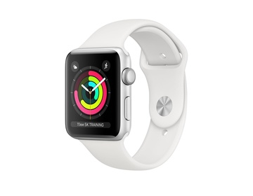 Apple Watch Series 3 GPS Aluminiumboett i Silver med Sportband i Vitt 38mm