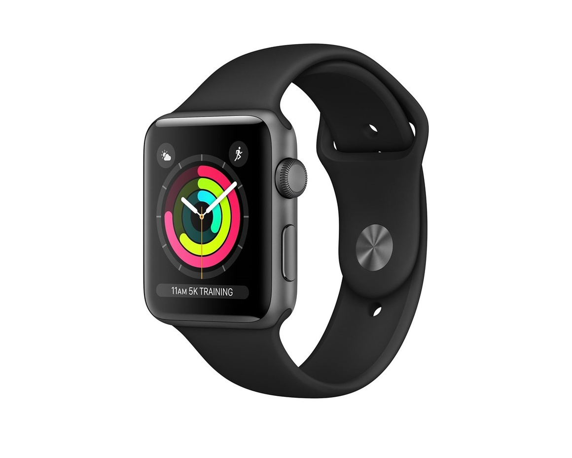 Apple Watch Series 3 GPS Aluminiumboett i Rymdgrått med Sportband i Svart 38mm