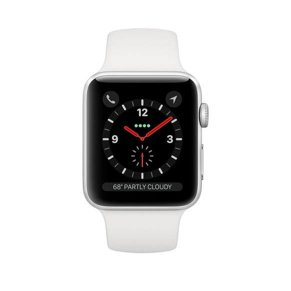 Apple Watch Series 3 GPS + Cellular Aluminiumboett i Silver med Sportband i Vitt 38mm