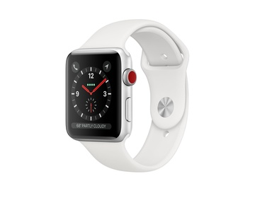 Apple Watch Series 3 GPS + Cellular Aluminiumboett i Silver med Sportband i Vitt
