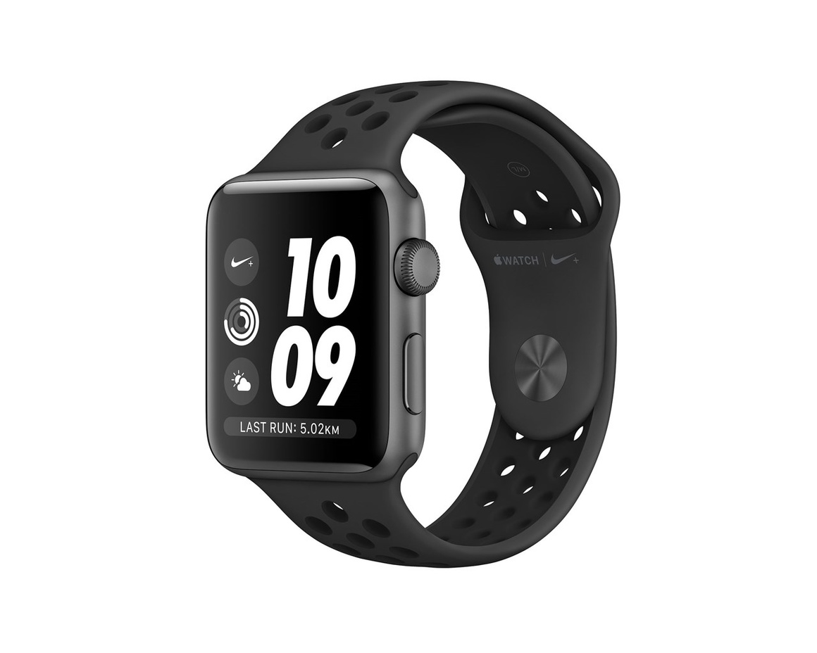 Apple Watch Nike+ Series 3 GPS Aluminiumboett i Rymdgrått med Nike-Sportband i Antracit/Svart 38mm