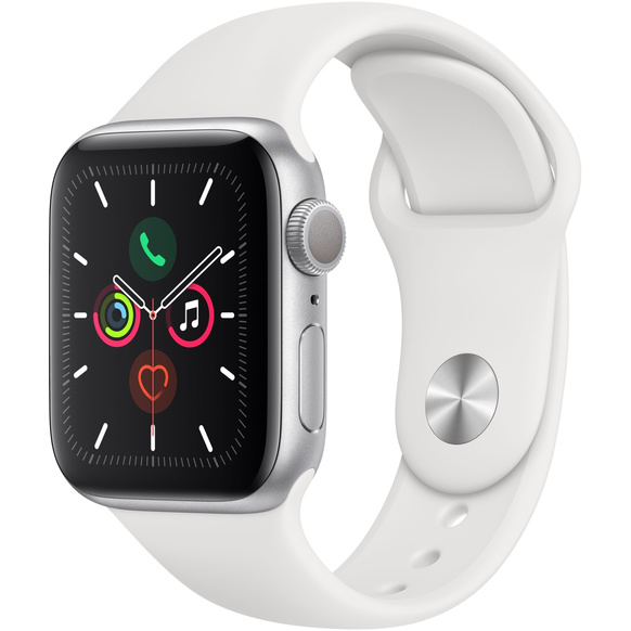 Apple Watch Series 5 GPS 40mm Aluminiumboett i Silver med Sportband i Vitt