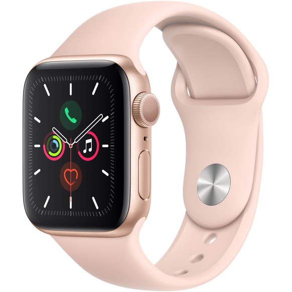 Apple Watch Series 5 GPS 40mm Aluminiumboett i Guld med Sportband i Sandrosa