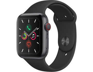 Apple Watch Series 5 GPS + Cellular 44mm Aluminiumboett i Rymdgrått med Sportband i Svart - S/M & M/L