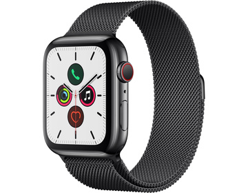 Apple Watch Series 5 GPS + Cellular 44mm Rostfri Stålboett i Rymdsvart med Milanesisk Loop i Rymdsvart