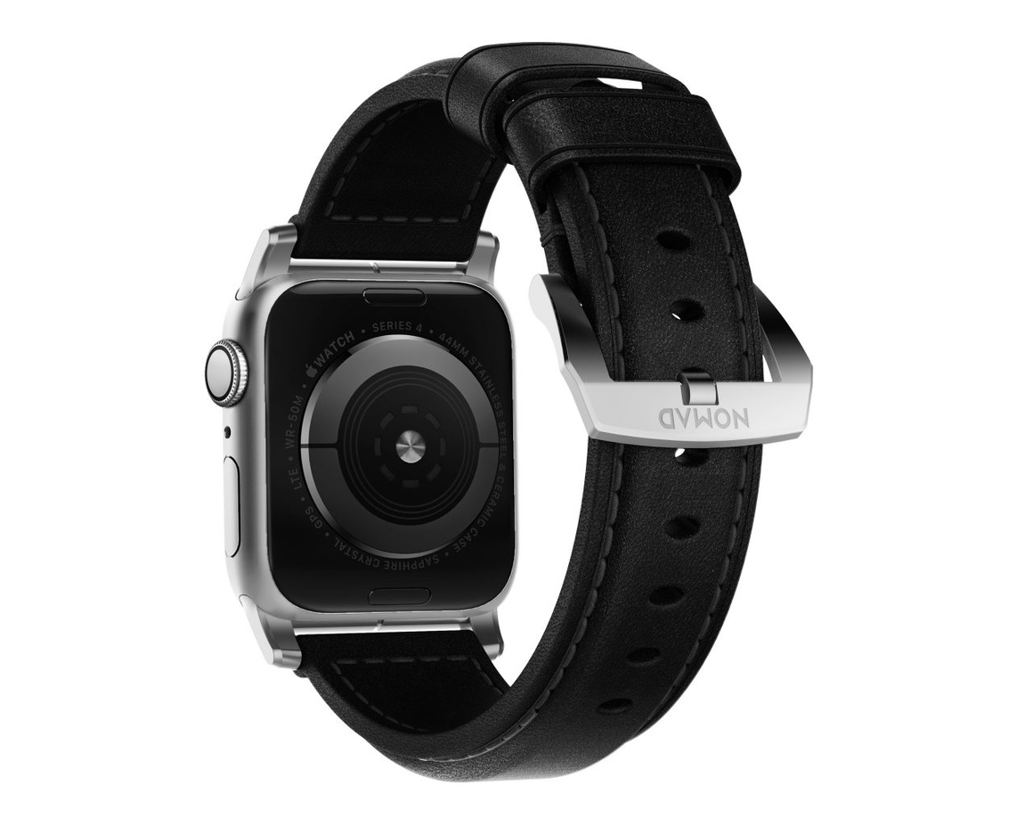 Nomad - Traditional Strap - 44mm/42mm - Silver Hardware - Black Leather
