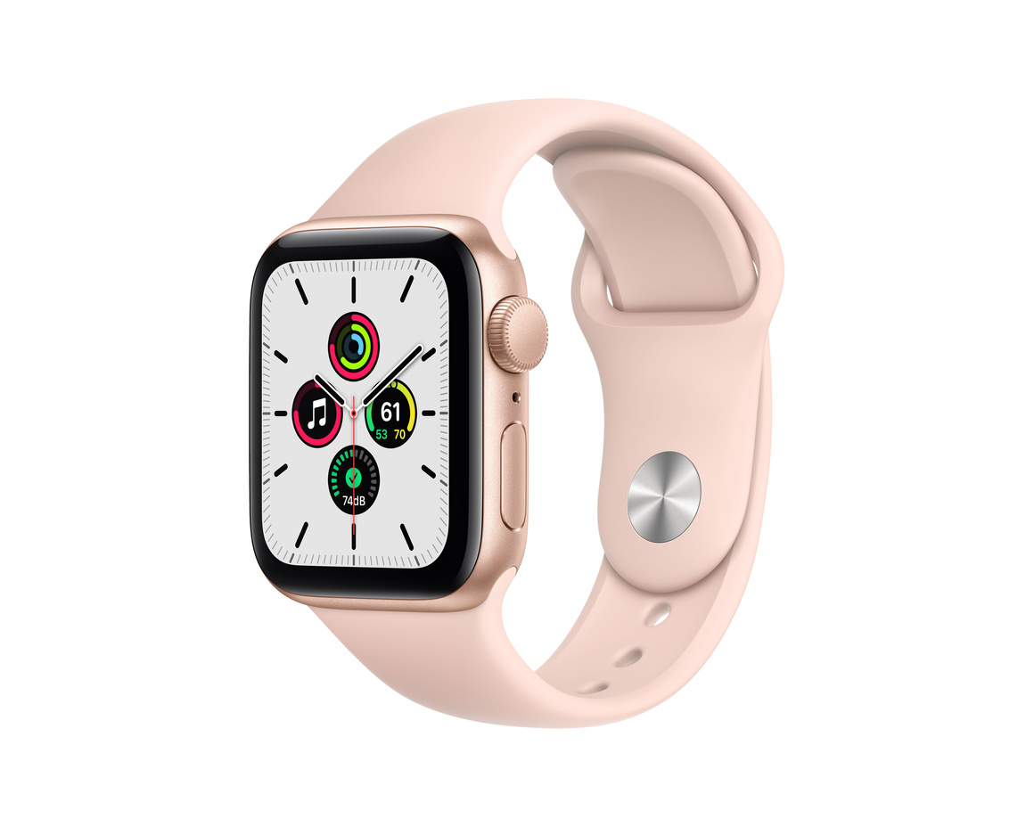 Apple Watch SE GPS 40mm Aluminiumboett i Guld med Sandrosa Sportband - Regular