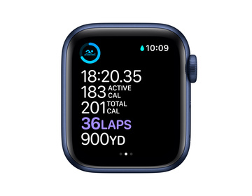 Apple Watch Series 6 GPS 40mm Aluminiumboett i Blå med Djupblå marin Sportband - Regular