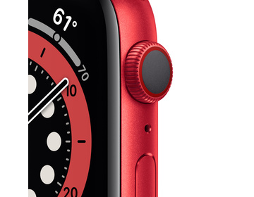 Apple Watch Series 6 GPS + Cellular 44mm Aluminiumboett i PRODUCT(RED) med PRODUCT(RED) Sportband - Regular