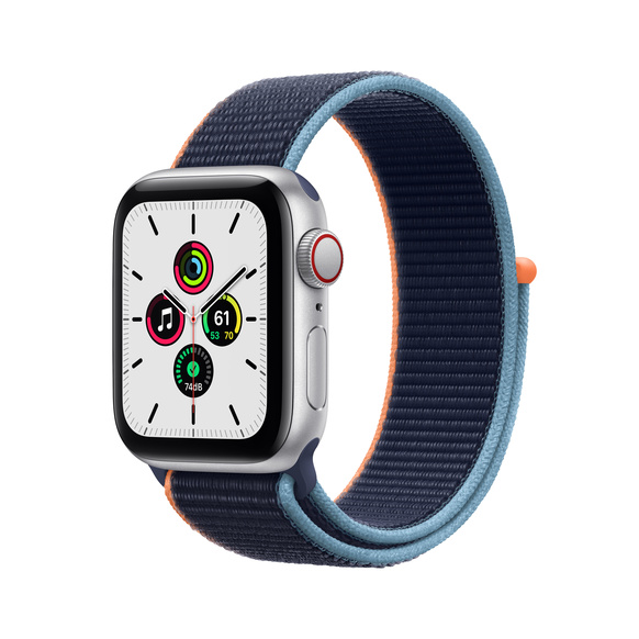 Apple Watch SE GPS + Cellular 40mm Aluminiumboett i Silver med Djupblå marin Sportloop