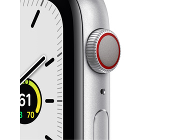 Apple Watch SE GPS + Cellular 44mm Aluminiumboett i Silver med Djupblå marin Sportloop